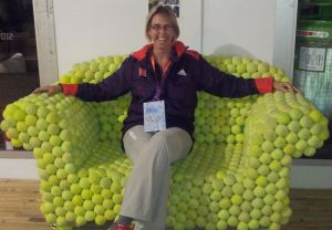 In the Olympic Village Globe on the Wimbledon chair